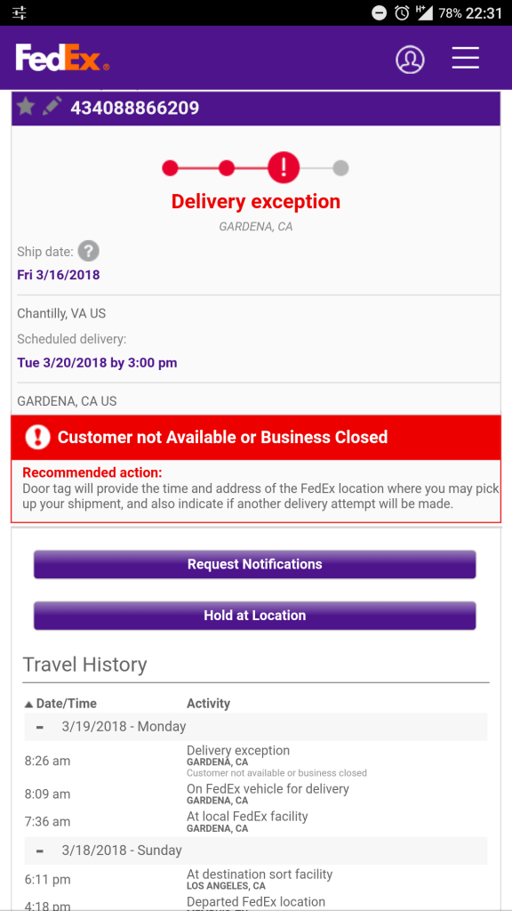 package not delivered
