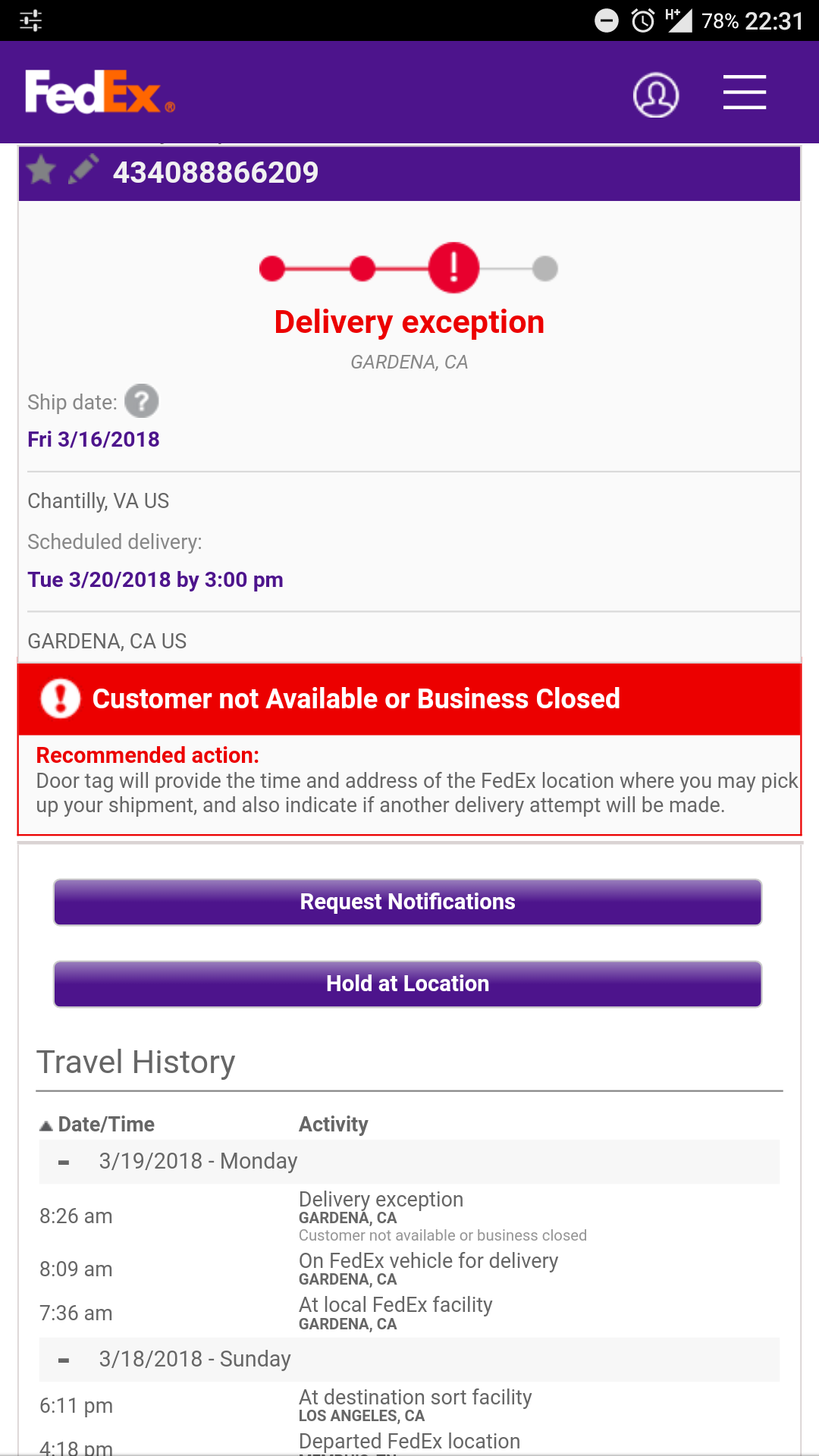 Package Was Not Delivered - Business Hours