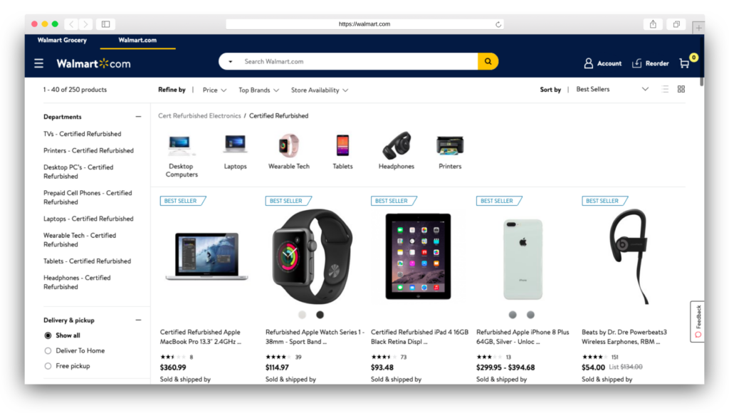 Walmart refurbished electronics