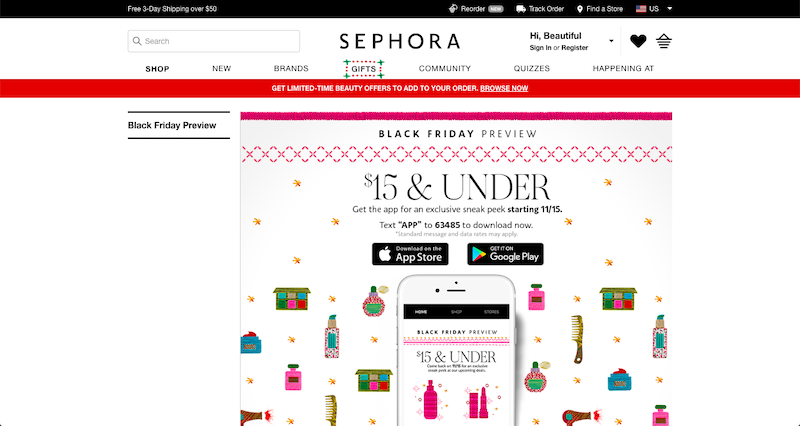 sephora black friday 2018