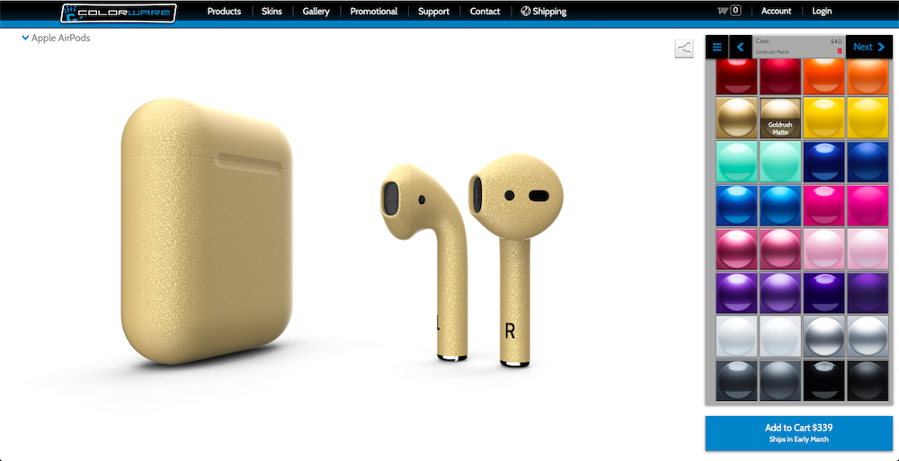 colorware airpods gold