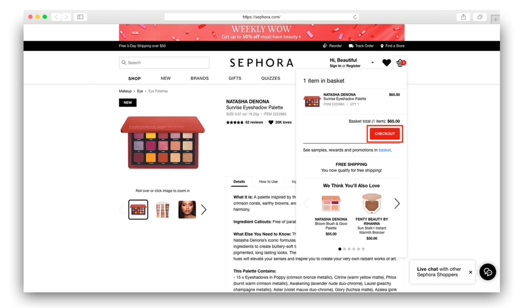 2Sephora item added