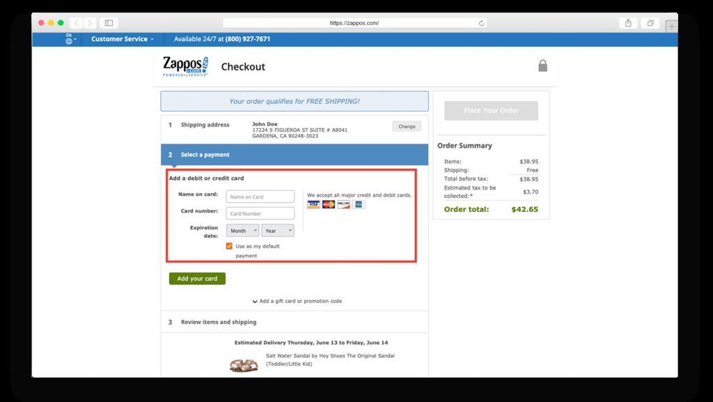 zappos checkout