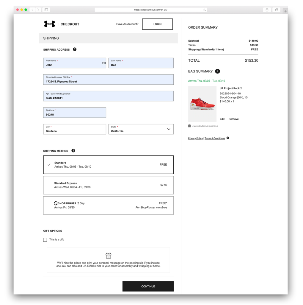 4Under Armour Delivery Address