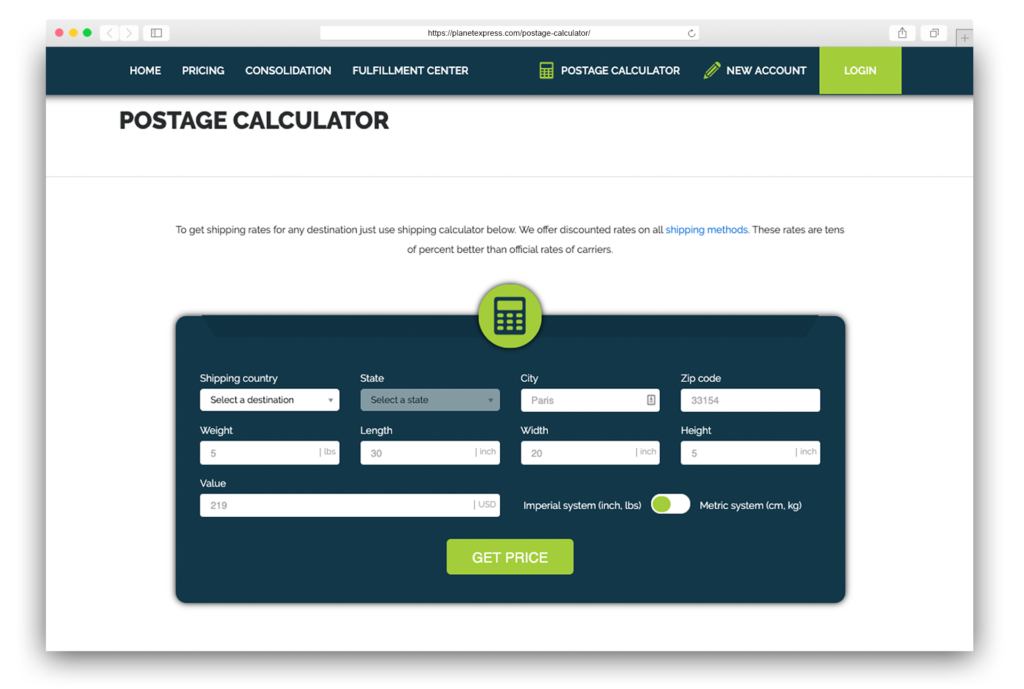 PE Postage calculator