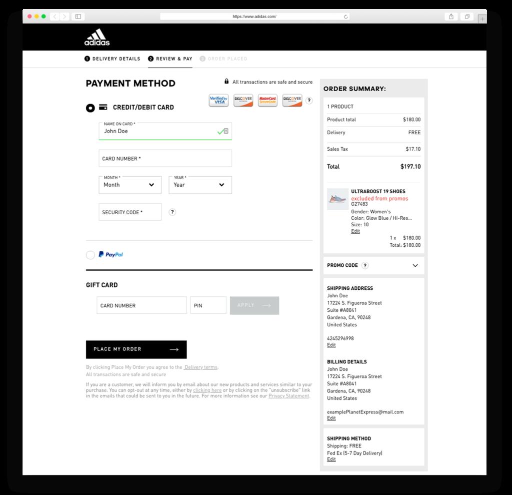 adidas payment