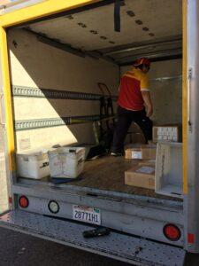 DHL worker in truck