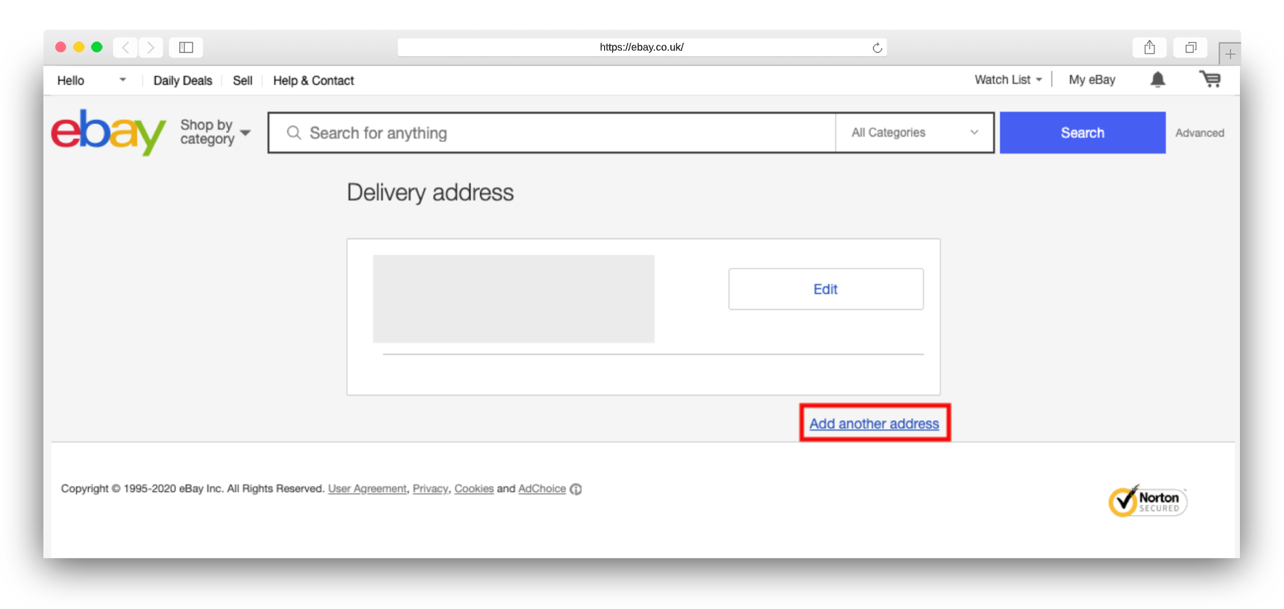 3eBay.co .uk adding address