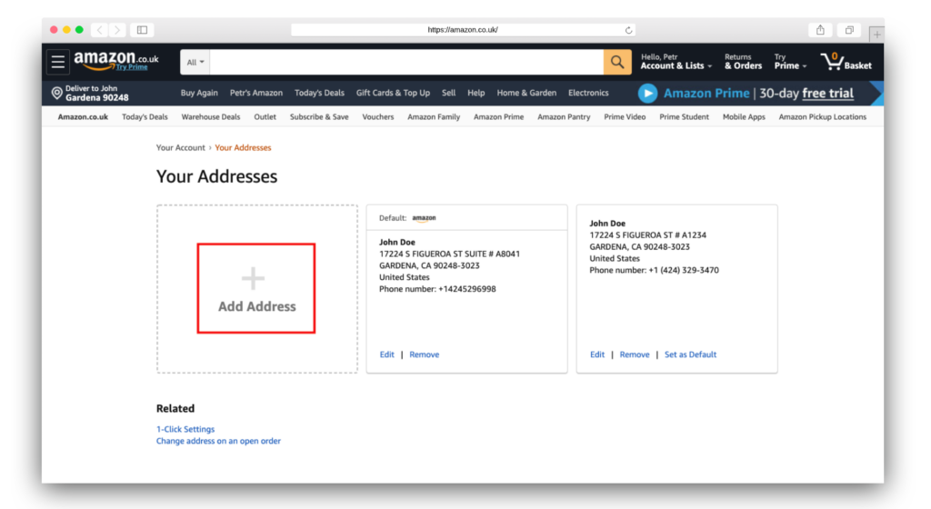 Amazon.co.uk Add New Address Button