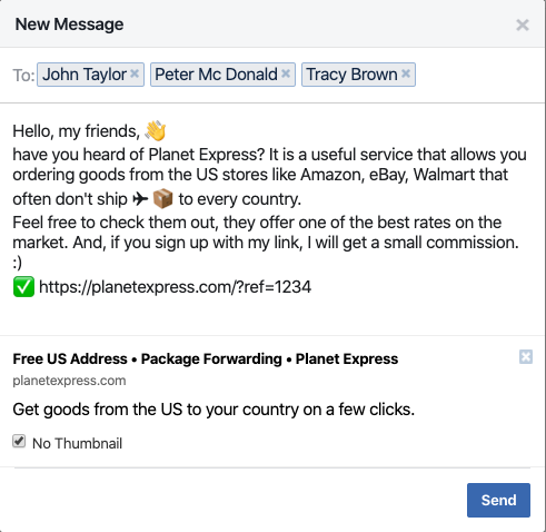 Planet Express Affiliate Facebook Message