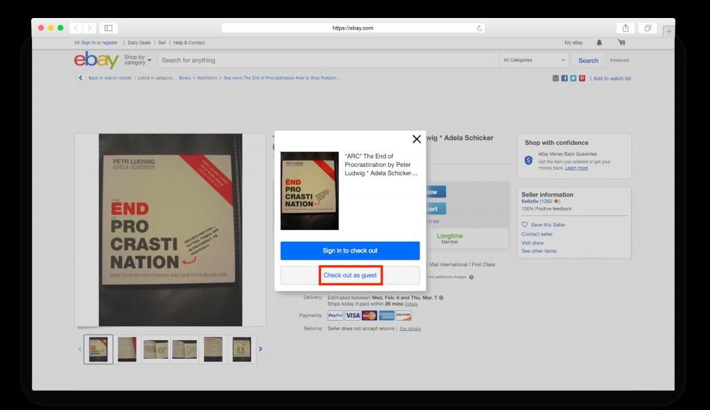 ebay добавляем товар в корзину