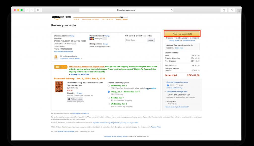 размещаем заказ Amazon
