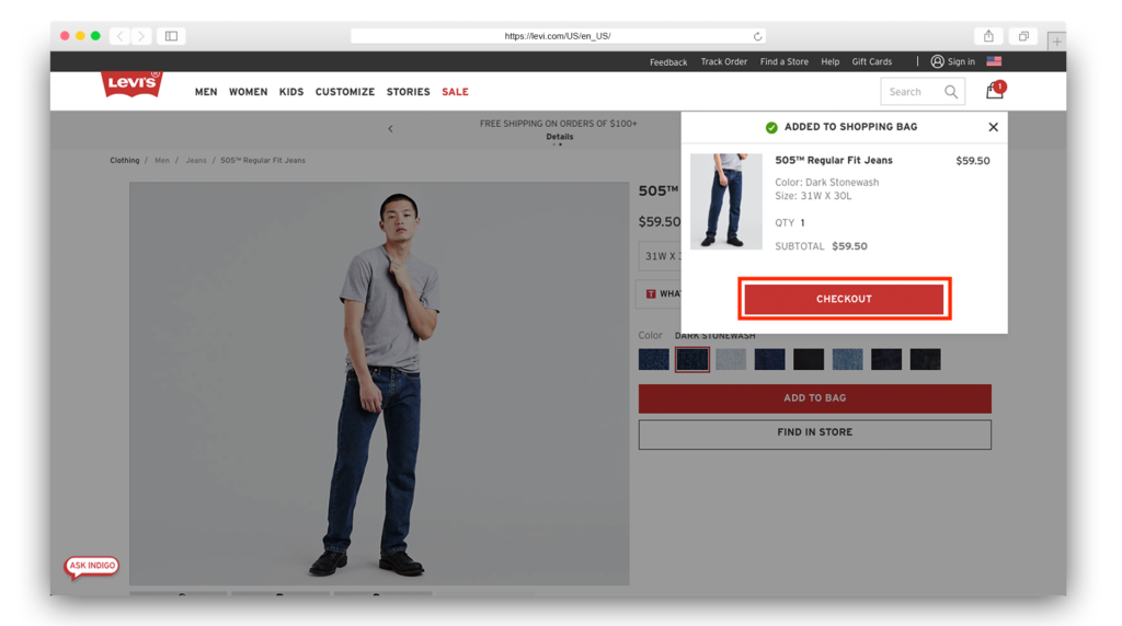 Levis added to cart 1024x572
