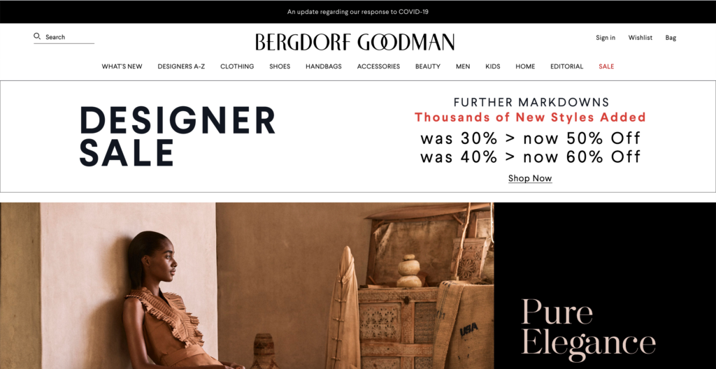 Bergdorf Goodman website