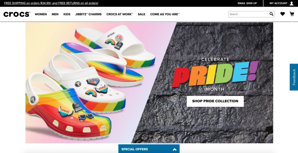 crocs website - американские бренды