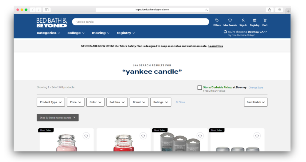 Yankee Candle at Bed Bath Beyond