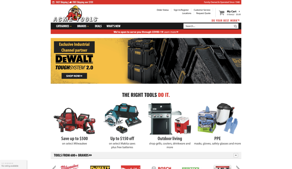 acme tools store screenshot
