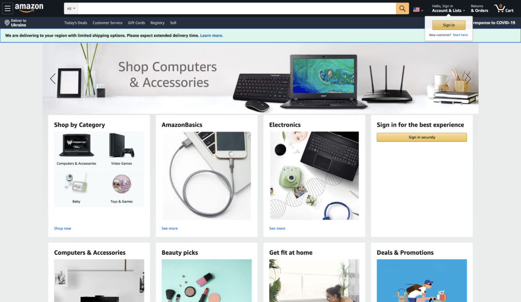 amazon homepage screenshot