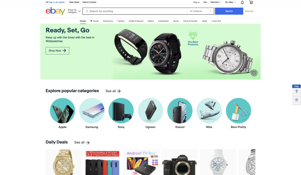 ebay homepage screenshot