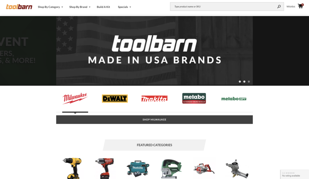 toolbarn store screenshot