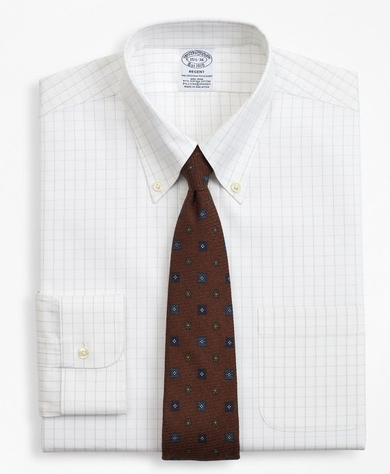 Stretch Wrinkle Free Dress Shirt, Windowpane