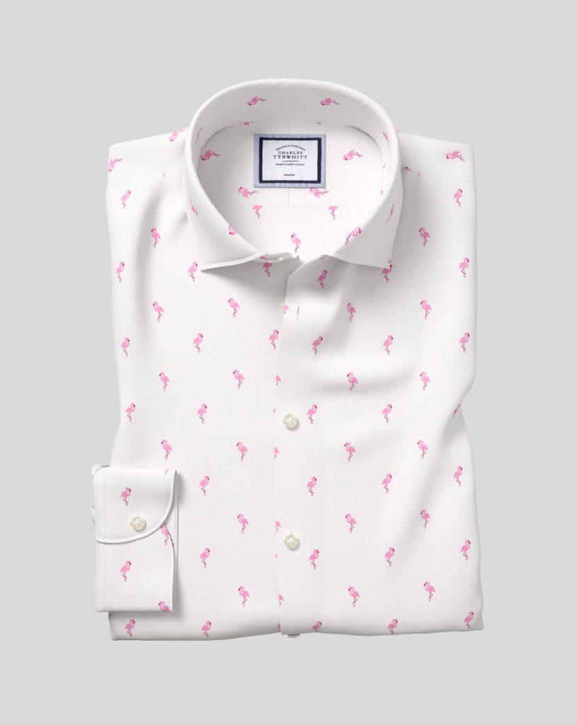 Flamingo Printed Wrinkle Free Dress Shirt