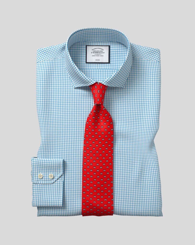 Blue Wrinkle Free Dress Shirt With Pattern