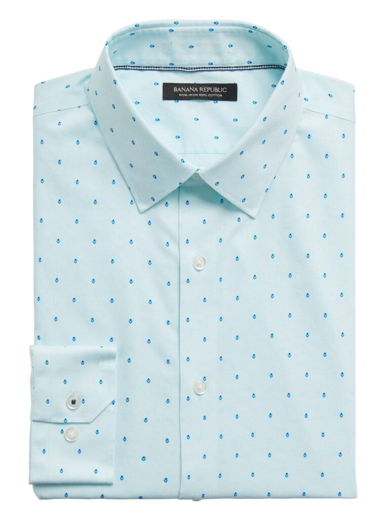 Standard-Fit Pattern Wrinkle Free Dress Shirt, Seafoam Blue