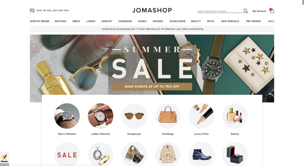 jomashop homepage website