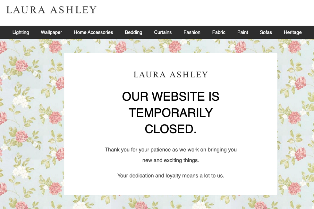 LauraAshley.com closed