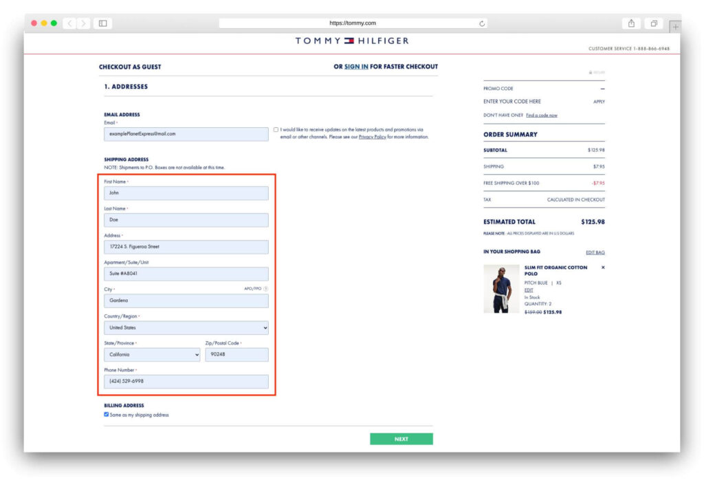 Tommy Hilfiger Delivery Address